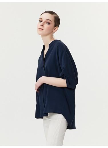 Ipekyol Double Kol Over Size Bluz Lacivert